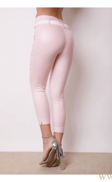 Dupla derékpánttal díszített magasított bőr hatású  7/8-os nadrág - EDINA - Rózsaszín
