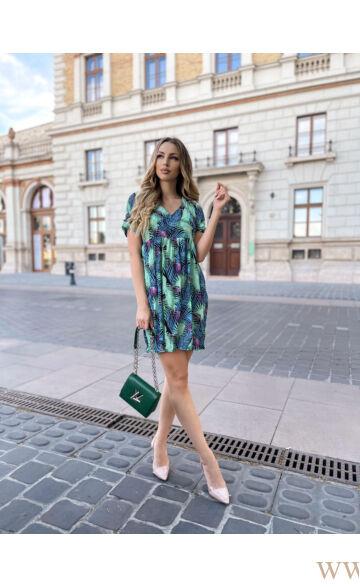 Bő szabású gyűrt ruha - RAMI -  Fekete/zöld levélmintás