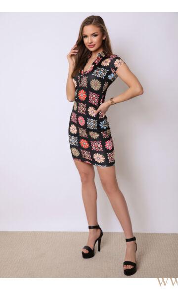 Gallérral díszített ruha  - CINDY - Fekete/virágmintás