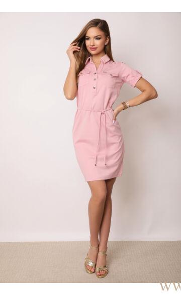 Gombos rövid ujjú ruha kötővel - PAULA - Rózsaszín
