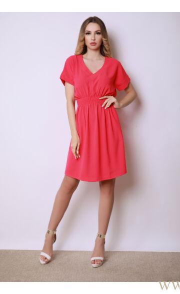 V-kivágású gumis ruha - AZIN - Eper piros