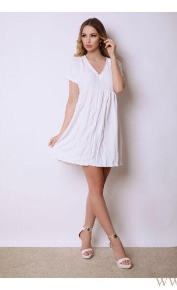 V-kivágású gyűrt ruha - RAMI - Ekrü
