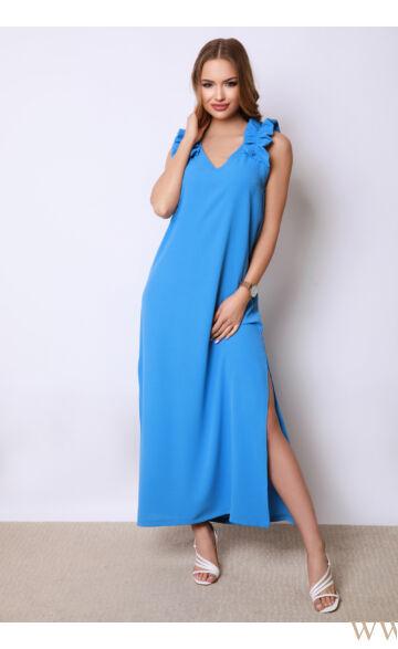Vállán fodros maxi ruha - SANDY - Kék