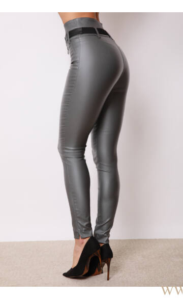 Dupla derékpánttal díszített magasított bőr hatású nadrág - EDINA - Szürke