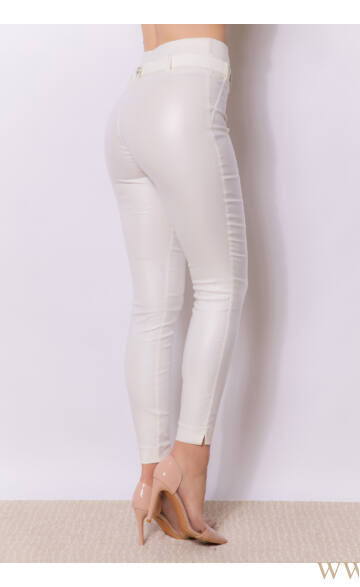 Dupla derékpánttal díszített magasított bőr hatású nadrág EDINA - Ekrű