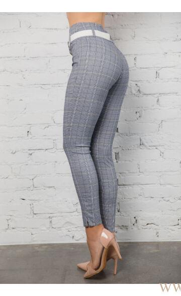Dupla derékpánttal díszített magasított nadrág EDINA - Kockás
