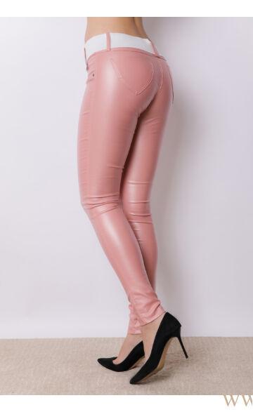 Kent bőrhatású nadrág - Élénk rózsaszín
