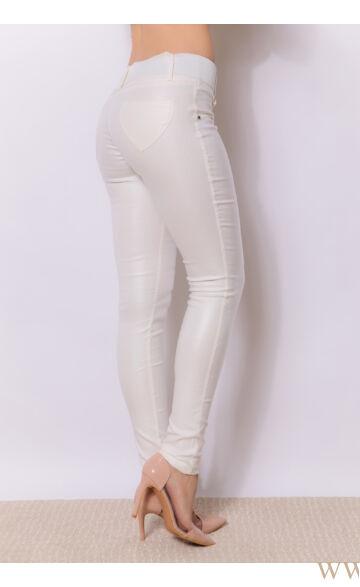 Kent bőrhatású nadrág - Ekrü