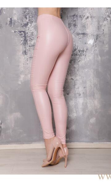 Magasított derekú elöl cipzáros bőr hatású nadrág (elasztikus) - MARA - Púder
