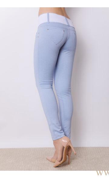Széles derékpántú puntó nadrág (elasztikus) - Világos kék