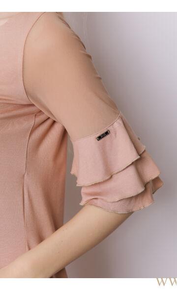 A-vonalú ujján fodros ruha - ROXI - Bézs