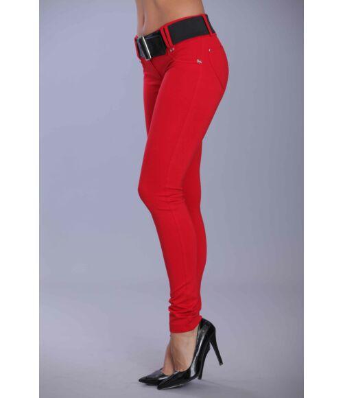 Öves puntó nadrág (elasztikus) piros