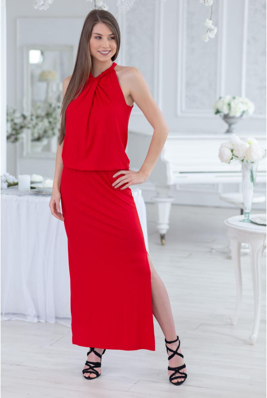 Átfűzött megkötős maxi ruha EMESE - piros
